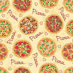 Vector pattern with different pizza and ingredients
