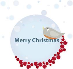 Christmas bullfinch bird background
