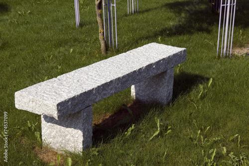 Leinwandbild Motiv Steinbank, Rustikale, Sitzgelegenheit,
