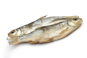 dried fish on the white background