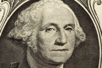 Macro George Washington Portrait on Dollar