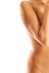 Half view of beautiful naked slim woman's body