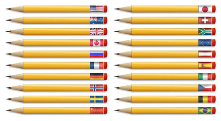 Twenty pencils with flags of the world, vector illustration