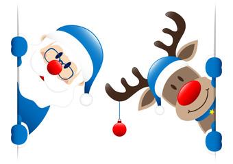 Blue Santa & Rudolph Christmas Bauble Banner