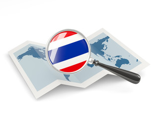 Magnified flag of thailand with map