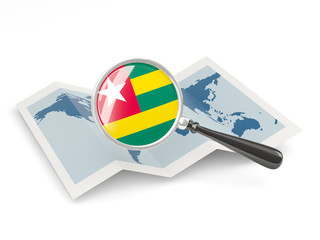 Magnified flag of togo with map