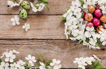 Easter egg nest from white flowers