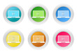 Set of rounded colorful buttons with computer symbol
