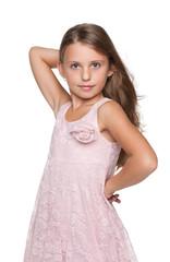 Profile portrait of a pretty little girl