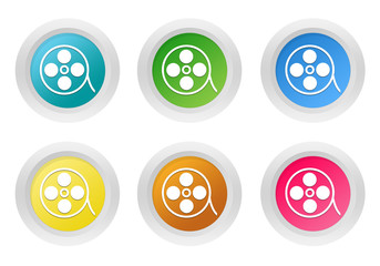 Set of rounded colorful buttons with movie symbol