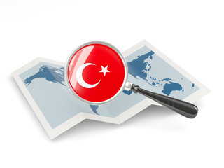 Magnified flag of turkey with map