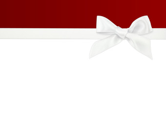 white ribbon on white and red background