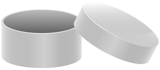 Template white round open box