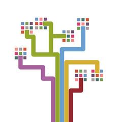 Vector abstract digital tree