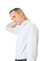 Side view mature man with neck pain