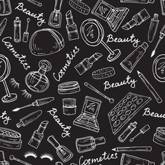 Vector pattern with attributes of cosmetics in black