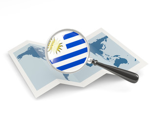 Magnified flag of uruguay with map