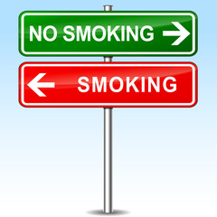 smoking and no smoking directions sign