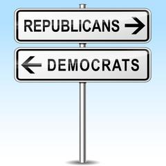 republicans and democrats directions sign