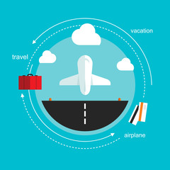 airplane takeoff travel, flat design illustration vector