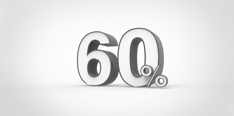 3D rendering of a white and black 60 percent letters