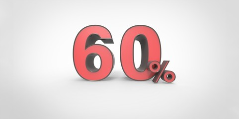 3D rendering of a red and black 60 percent letters