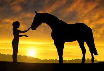 Girl with a horse at sunset