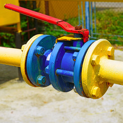 Ball valve on the gas pipeline section