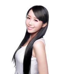 Woman with health long hair