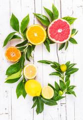 Citrus fruits on white rustic background.Vitamin c