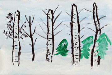 Winter landscape, a child's drawing