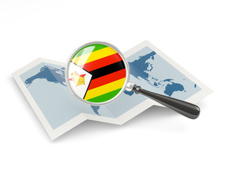 Magnified flag of zimbabwe with map