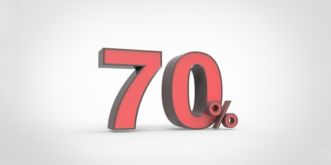 3D rendering of a red and black 70 percent letters