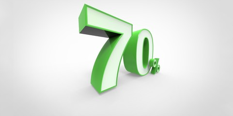 3D rendering of a white and green 70 percent letters