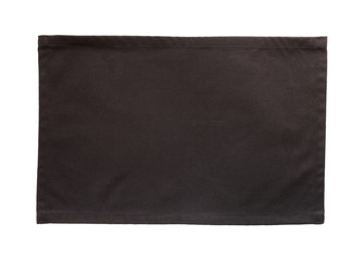 Black canvas tablecloth isolated on white background