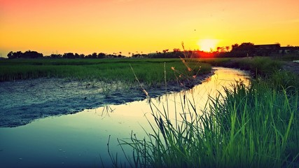 Beautiful evening time in rural area in Thailand