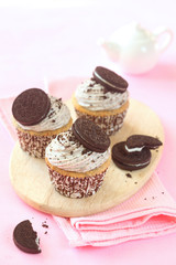 Chocolate Cookie Cupcake with Cream Cheese Frosting