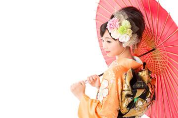 japanese woman wearing kimono on white background