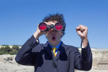 winner cries seeing the goal with binoculars