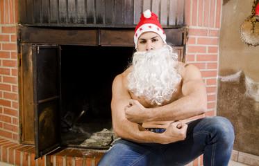 Fitness santa in chimney