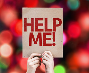 Help Me! card with colorful background