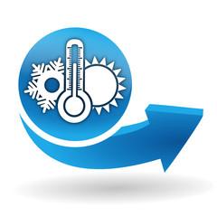 climatisation sur bouton web bleu