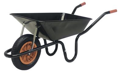 Black galvanised steel wheelbarrow cart isolated on white