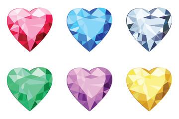 Heart shaped brilliants, no gradients