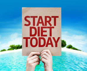 Start Diet Today card with a beach on background