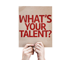 Whats Your Talent? card isolated on white background