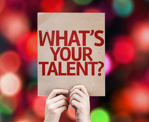 Whats Your Talent? card with colorful background