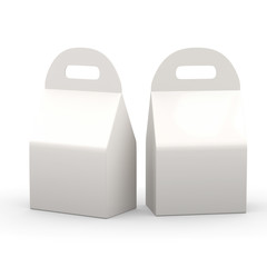 White flat bottom  box with handle, clipping path included