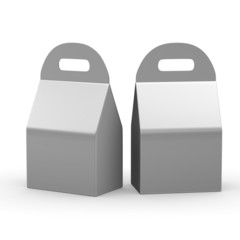 Silver flat bottom  box with handle, clipping path included