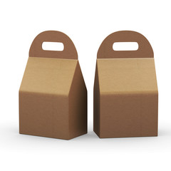 Kraft paper flat bottom  box with handle, clipping path included